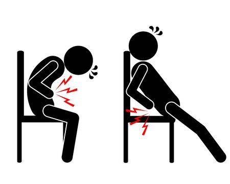 Pictogram stomach ache and back pain