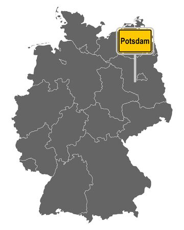 Map of Germany with road sign of Potsdam Illustration