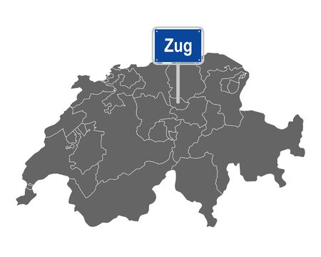 Map of Switzerland with road sign of Zug