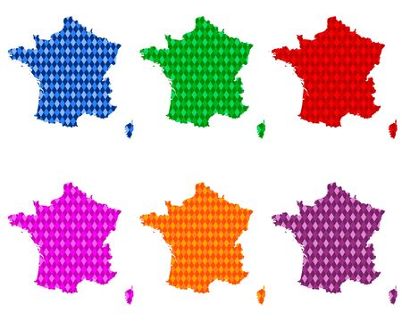 Maps of France with colored rhombs