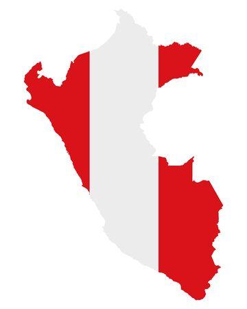 Flag in map of Peru Векторная Иллюстрация