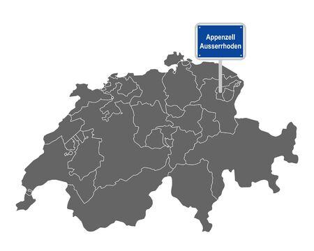 Map of Switzerland with road sign of Appenzell Ausserrhoden