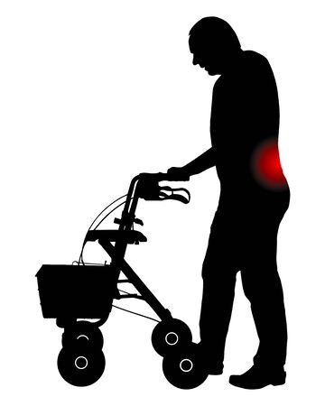 Man with back pain and rollator