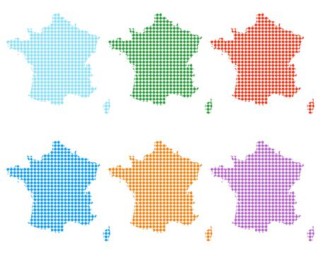 Maps of France with small rhombs Vectores
