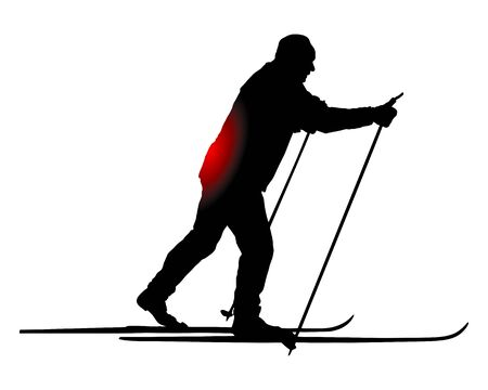 Cross-country skier with back pain Vetores