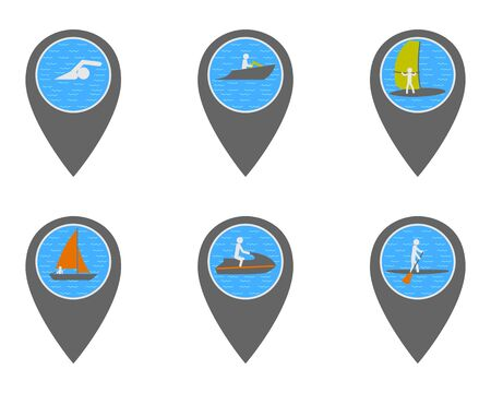 Location pins with symbols of travel