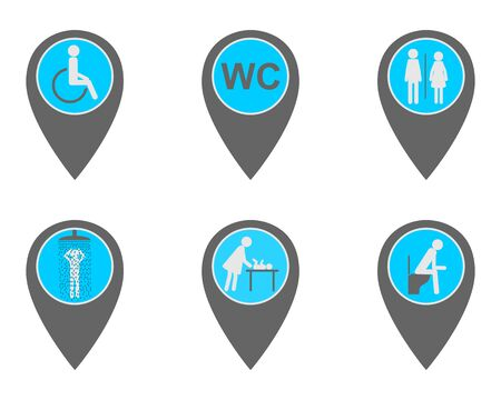 Location pins with symbols for washroom