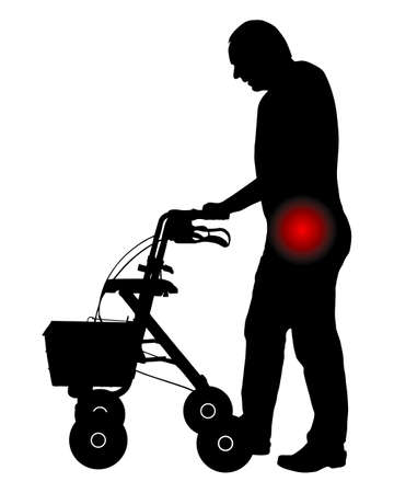Man with hip pain and rollator Illustration
