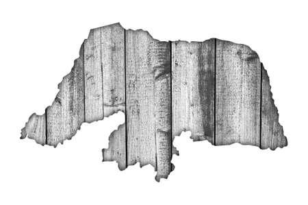 Map of Rio Grande do Norte on weathered wood Foto de archivo