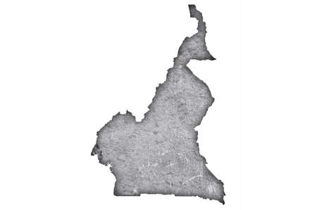 Map of Cameroon on weathered concrete