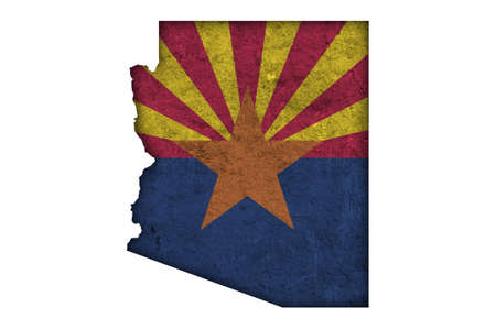 Map and flag of Arizona on weathered concrete