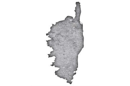 Map of Corsica on weathered concrete Standard-Bild