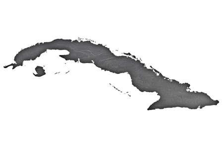 Map of Cuba on dark slate