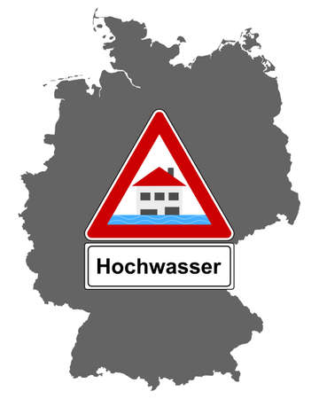 Map of Germany and traffic sign flood