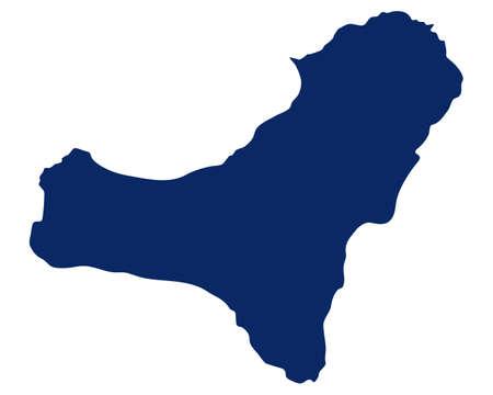 Map of El Hierro in blue color Ilustração