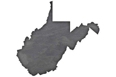 Map of West Virginia on dark slate