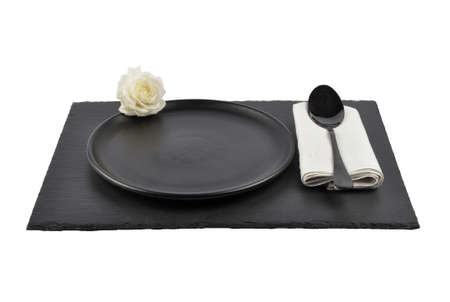 White rose and table setting on slate isolated 免版税图像