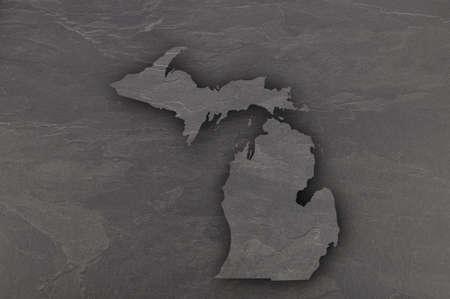 Map of Michigan on dark slate