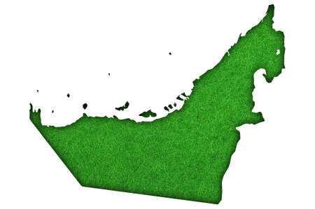 Map of United Arab Emirates on green felt