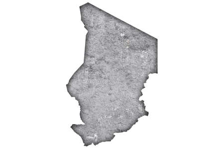Map of Chad on weathered concrete