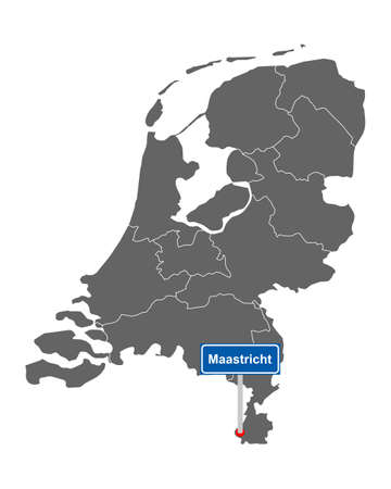 Map of the Netherlands with road sign Maastricht