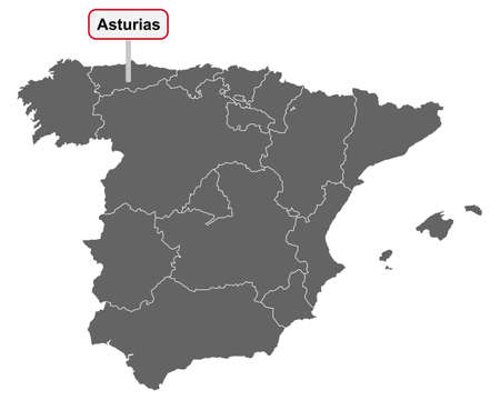 Map of Spain with place name sign of Asturias