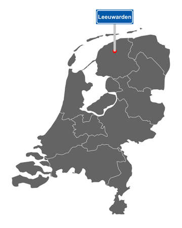 Map of the Netherlands with road sign Leeuwarden Vectores