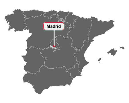 Place name sign Madrid at map of Spain