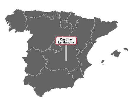 Map of Spain with place name sign of Castilla- La Mancha Vektorgrafik