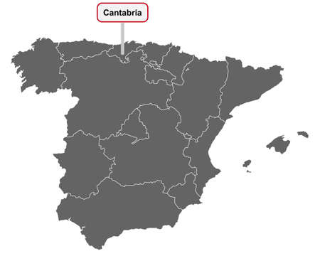 Map of Spain with place name sign of Cantabria