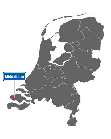 Map of the Netherlands with road sign Middelburg