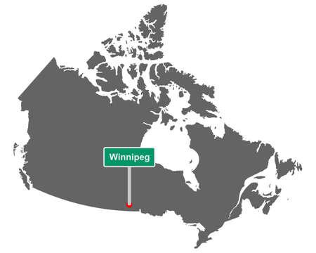 Place name sign Winnipeg at map of Canada Vektorgrafik