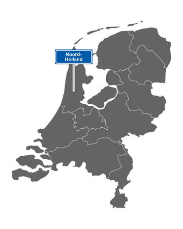 Map of the Netherlands with road sign Noord-Holland
