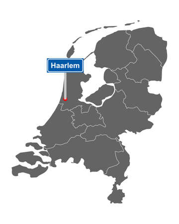Map of the Netherlands with road sign Haarlem