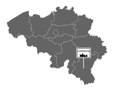 Map of Belgium with road sign Luxembourg