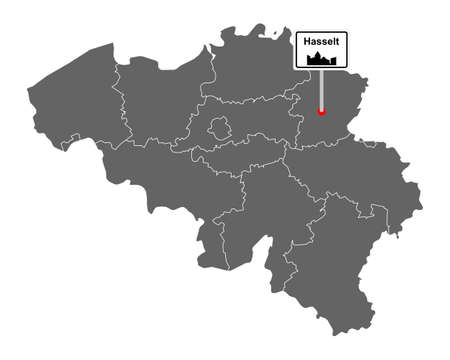 Map of Belgium with road sign Hasselt
