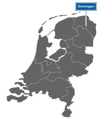 Map of the Netherlands with road sign Groningen Vektorgrafik