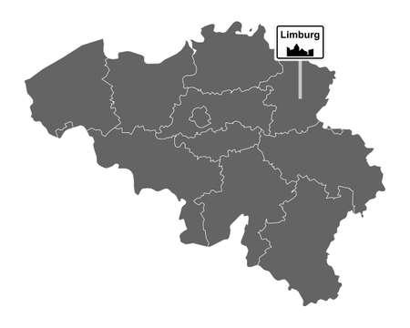 Map of Belgium with road sign Limburg