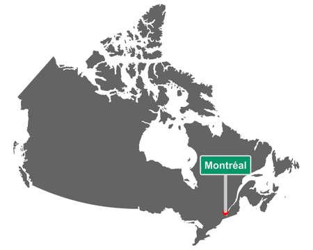 Place name sign Montreal at map of Canada Vektorgrafik