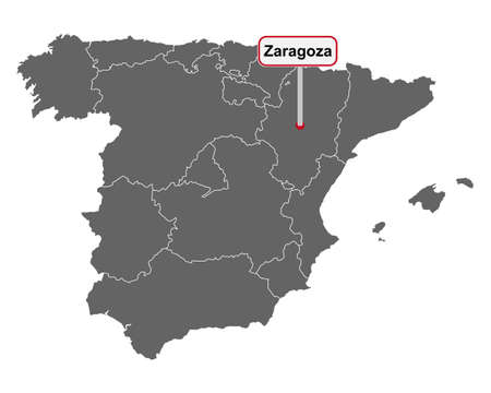 Place name sign Zaragoza at map of Spain