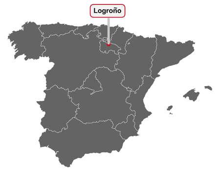 Place name sign Logrono at map of Spain Vektorgrafik