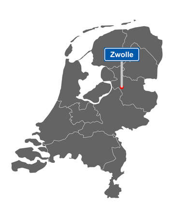 Map of the Netherlands with road sign Zwolle
