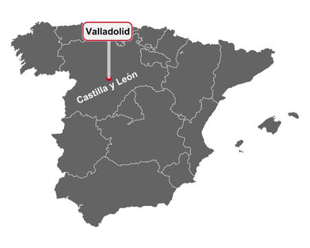 Place name sign Valladolid at map of Spain Vektorgrafik