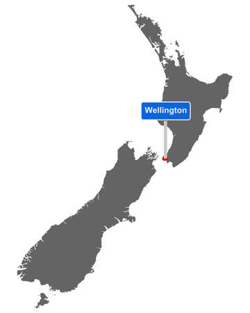Map of New Zealand with road sign Wellington