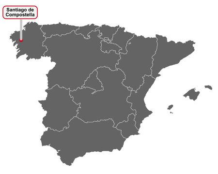 Place name sign Santiago de Compostella at map of Spain Vektorgrafik