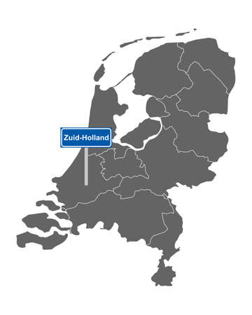 Map of the Netherlands with road sign Zuid-Holland Vectores