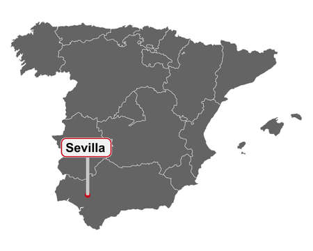 Place name sign Sevilla at map of Spain