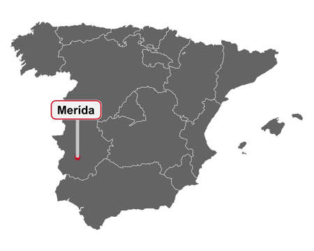 Map of Spain with place name sign of Merida