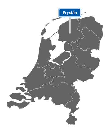 Map of the Netherlands with road sign Fryslan