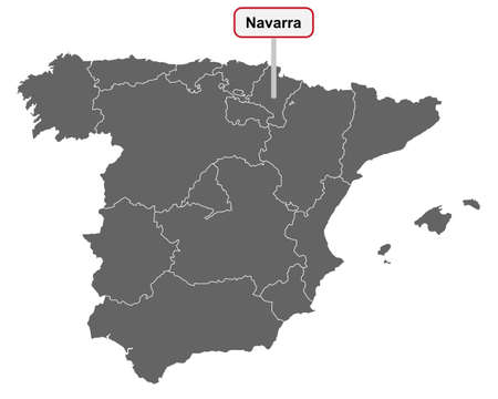 Map of Spain with place name sign of Navarra